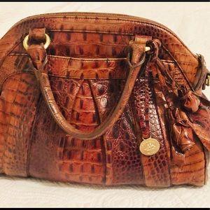 Brahmin Louise Croc Embossed Rose Handbag